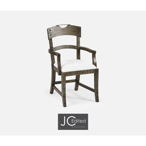 Planked Dark Driftwood Dining Armchair, Upholstered in COM