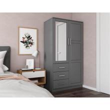 7105 - 100% Solid Wood Metro Wardrobe - Gray