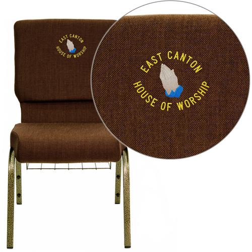 Embroidered HERCULES Series 18.5''W Church Chair in Brown Fabric with Cup Book Rack - Gold Vein Frame