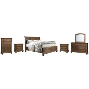 Ashley - Queen Sleigh Bed With 2 Storage Drawers With Mirrored Dresser, Chest and 2 Nightstands