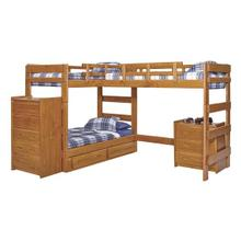 Heartland L-Shaped Triple Bunk Bed with options: Honey Pine, 2 Twins Over Twin