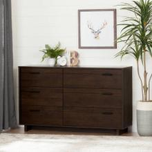 6-Drawer Double Dresser - Brown Oak