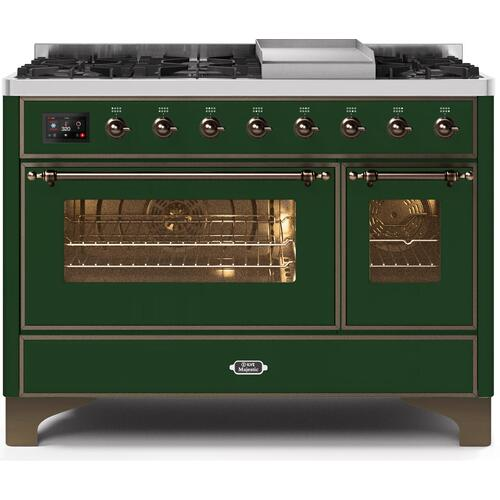Majestic II 48 Inch Dual Fuel Liquid Propane Freestanding Range in Emerald Green with Bronze Trim