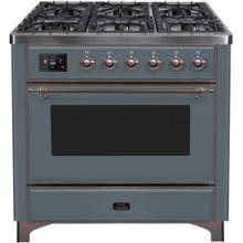See Details - Majestic II 36 Inch Dual Fuel Natural Gas Freestanding Range in Blue Grey with Bronze Trim
