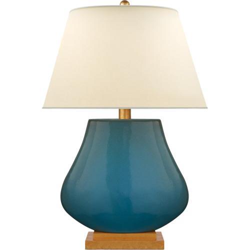 Visual Comfort CHA8699OSB-PL E. F. Chapman Taiping 30 inch 100 watt Oslo Blue Table Lamp Portable Light, base made of wood