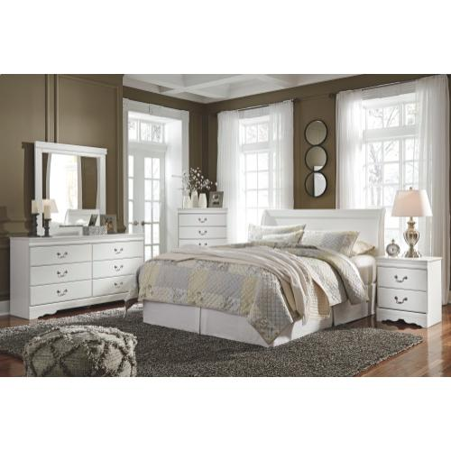Queen Sleigh Headboard With Mirrored Dresser and Chest