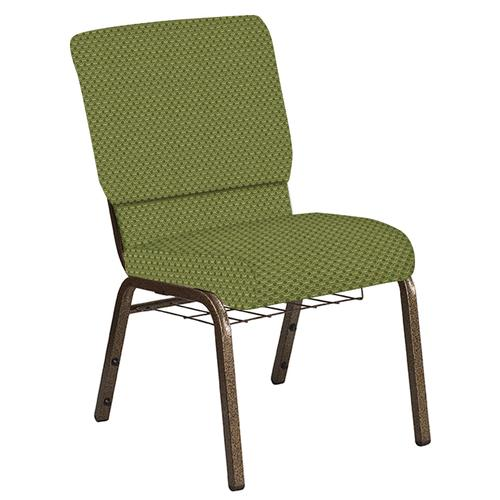 Flash Furniture - 18.5''W Church Chair in Canterbury Olive Fabric with Book Rack - Gold Vein Frame