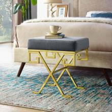 Twist Performance Velvet Bench in Gold Gray