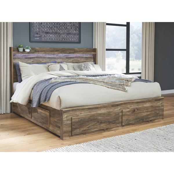 Rusthaven King Panel Bed With 6 Storage Drawers