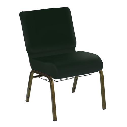 HERCULES Series 21''W Church Chair in E-Z Oxen Green Vinyl with Book Rack - Gold Vein Frame