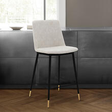 """View Product - Messina 26"""" Modern Counter Height Bar Stool with Black Metal Finish and Cream Faux Leather"""