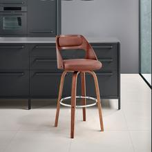 """View Product - Julius 26"""" Brown Faux Leather and Walnut Wood Bar Stool"""
