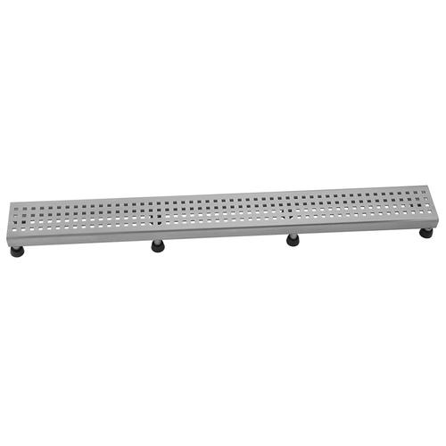"""Product Image - Polished Stainless - 36"""" Channel Drain Square Dotted Grate"""