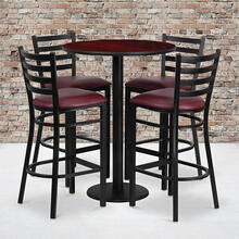 Product Image - 30'' Round Mahogany Laminate Table Set with Round Base and 4 Ladder Back Metal Barstools - Burgundy Vinyl Seat