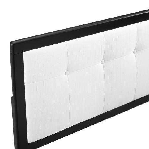 Draper Tufted King Fabric and Wood Headboard in Black White