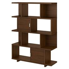 Madison Avenue Large Geometric Etagere Bookcase with Doors - Modern Walnut