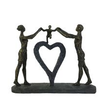 "Polyresin 15"" Family W/ Heart Sculpture, Bronze"