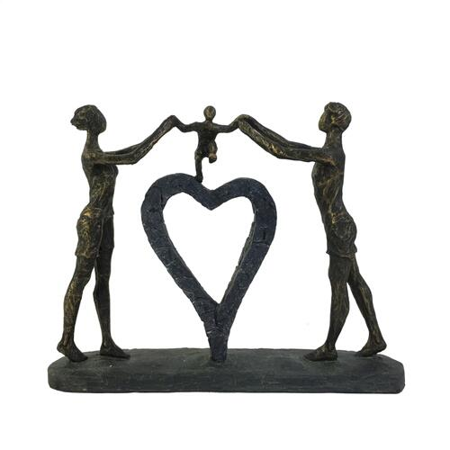 "Polyresin 15"" Family W/ Heart Sculpture, Bronze"