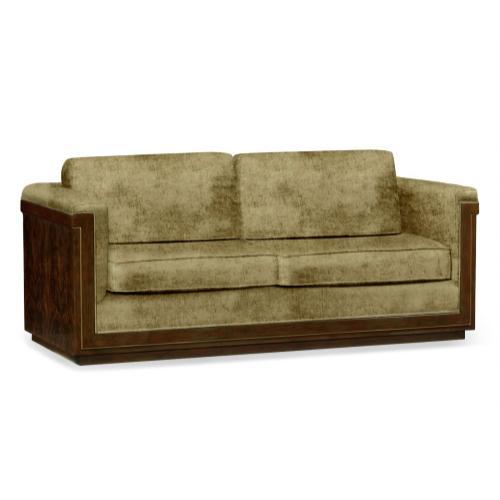 86'' Antique Mahogany Brown High Lustre Sofa, Upholstered in Lime Velvet