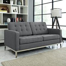 Loft Upholstered Fabric Loveseat in Gray
