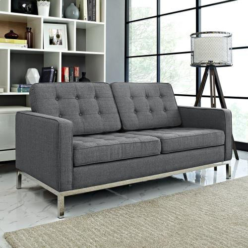 Modway - Loft Upholstered Fabric Loveseat in Gray
