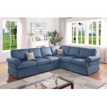 Dori 2pc Sectional Sofa Set, Blue Glossy