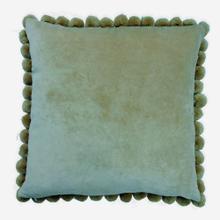"""Hamal 20"""" Square Velvet Pillow with Pom Poms, Green"""