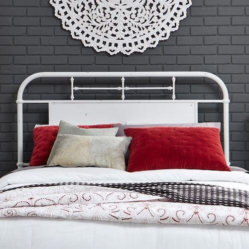 King Metal Headboard - Antique White