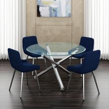 Solara II/Cassidy 5pc Dining Set, Chrome/Blue