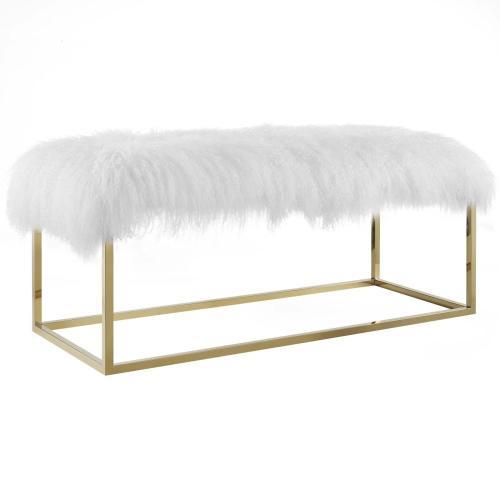 Modway - Anticipate White Sheepskin Bench in Gold
