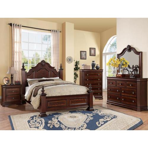 Charlotte Queen Bedroom Set (Bed Frame, Dresser/Mirror, 1NS & Chest included)