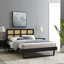 Sidney Cane and Wood King Platform Bed With Angular Legs in Black