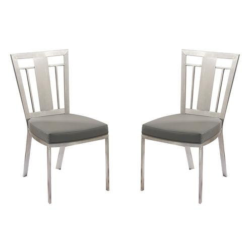 Armen Living - Cleo Contemporary Dining Chair In Gray and Stainless Steel - Set of 2