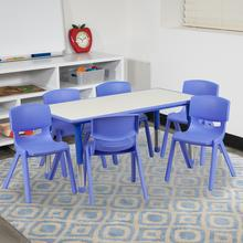 See Details - 23.625''W x 47.25''L Rectangular Blue Plastic Height Adjustable Activity Table Set with 6 Chairs