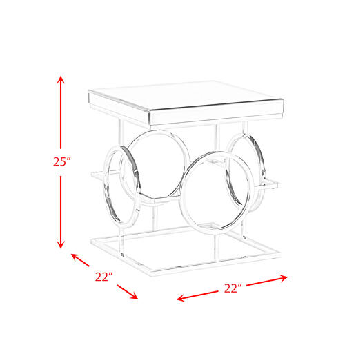 Pearl Square Mirrored End Table