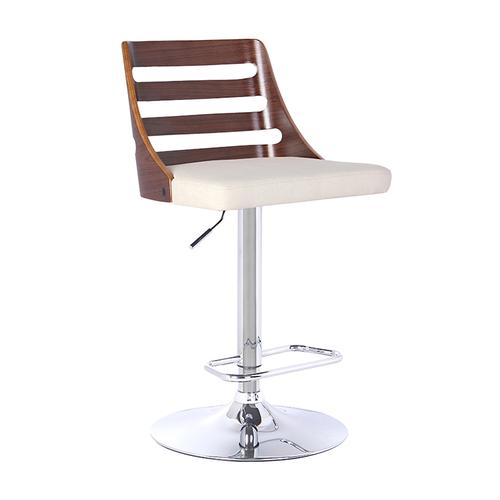 Armen Living Storm Barstool in Chrome finish with Walnut wood and Cream Faux Leather