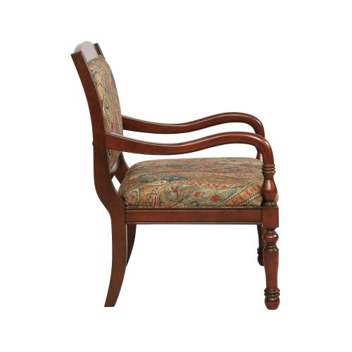 Paisley Print Accent Chair, Cherry