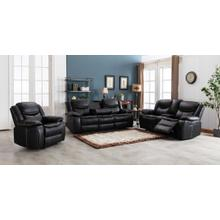 See Details - 8004 BLACK 3PC Air Leather Power Recliner & USB Sofa SET