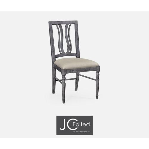 Upholstered side chair in antique dark grey