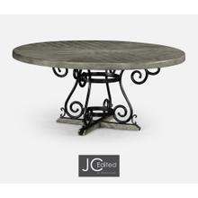 """66"""" Antique Dark Grey and Wrought Iron Dining Table"""