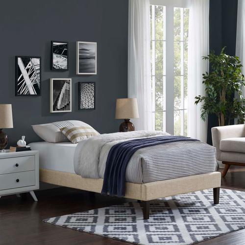 Modway - Tessie Twin Fabric Bed Frame with Squared Tapered Legs in Beige