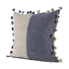 See Details - Joelle 18.0L x 18.0W x 0.2H Blue and Beige Color Blocked W/Tassels Squre Decorative Pillow Cover