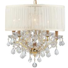 Brentwood 6 Light Elements Crystal Gold Drum Shade Chandelier