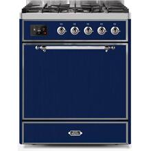 Majestic II 30 Inch Dual Fuel Liquid Propane Freestanding Range in Blue with Chrome Trim