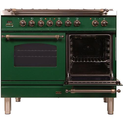 Ilve - Nostalgie 40 Inch Dual Fuel Natural Gas Freestanding Range in Emerald Green with Bronze Trim