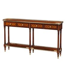 Burl Lattice Parquetry, Brass Mounted Console Table
