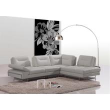 Divani Casa Carmel - Modern Taupe Italian Leather Sectional Sofa with Adjustable Backrests