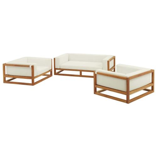 Newbury 3 Piece Outdoor Patio Premium Grade A Teak Wood Set in Natural White