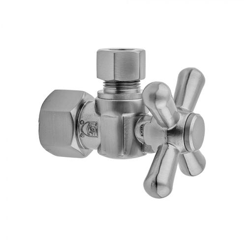 """Antique Brass - Quarter Turn Angle Pattern 1/2"""" IPS x 1/2"""" O.D. Supply Valve with Standard Cross Handle"""