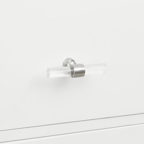 White, Three Drawer Modern Glam Nightstand